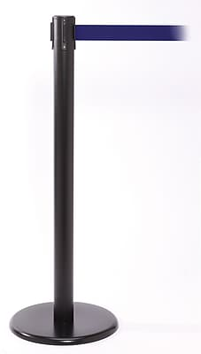 QPro 250 Black Stanchion Barrier Post with Retractable 11' Blue Belt