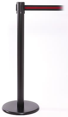 QPro 250 Black Stanchion Barrier Post with Retractable 11' Black/Red Belt