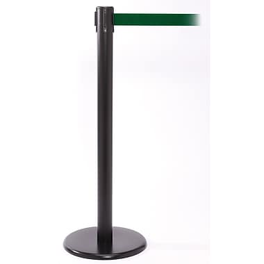 QPro 250 Black Stanchion Barrier Post with Retractable 11' Green Belt