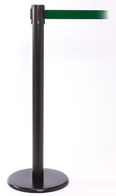 QPro 250 Black Stanchion Barrier Post with Retractable 11' Green Belt