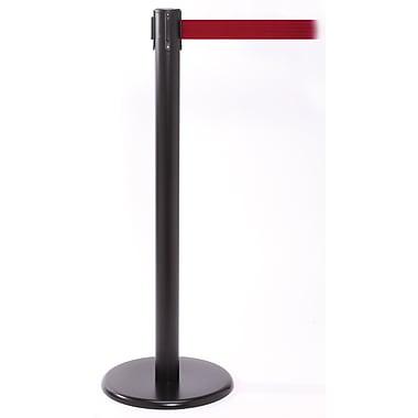 QPro 250 Black Retractable Belt Barrier with 11' Red Belt