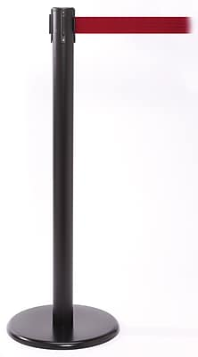 QPro 250 Black Stanchion Barrier Post with Retractable 11' Red Belt