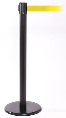 QPro 250 Black Stanchion Barrier Post with Retractable 11' Yellow Belt