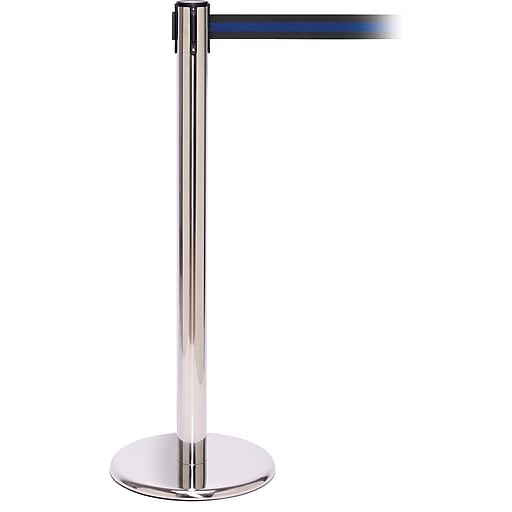 QPro 250 Polished Stainless Steel Stanchion Barrier Post with Retractable 11' Black/Blue Belt