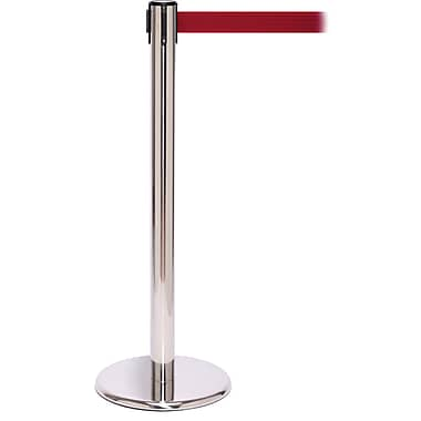 QPro 250 Polished Stainless Steel Stanchion Barrier Post with Retractable 11' Red Belt