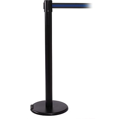 RollerPro 250 Black Rolling Stanchion Barrier Post with Retractable 11' Black/Blue Belt