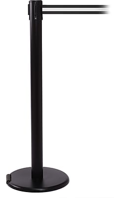 RollerPro 250 Black Rolling Stanchion Barrier Post with Retractable 11' Black/White Belt