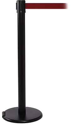 RollerPro 250 Black Rolling Stanchion Barrier Post with Retractable 11' Maroon Belt