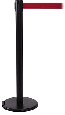 RollerPro 250 Black Rolling Stanchion Barrier Post with Retractable 11' Red Belt