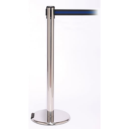 RollerPro 250 Stainless Steel Rolling Retractable Belt Barrier with 11' Black/Blue Belt