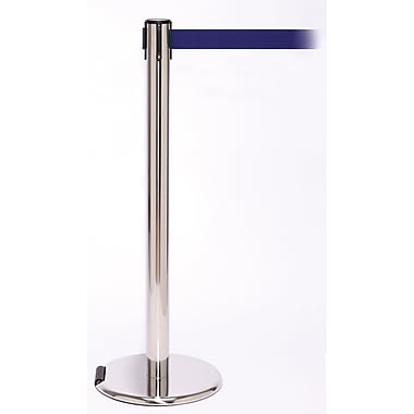 RollerPro 250 Stainless Steel Rolling Stanchion Barrier Post with Retractable 11' Blue Belt