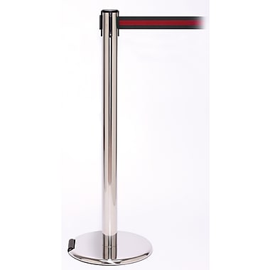RollerPro 250 Stainless Steel Rolling Stanchion Barrier Post with Retractable 11' Black/Red Belt