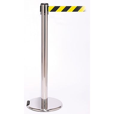 RollerPro 250 Stainless Steel Rolling Stanchion Barrier Post with Retractable 11' Black/Yellow Belt