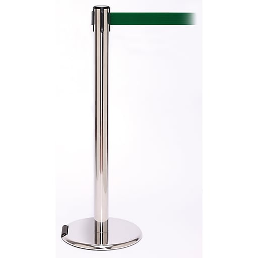 RollerPro 250 Stainless Steel Rolling Stanchion Barrier Post with Retractable 11' Green Belt