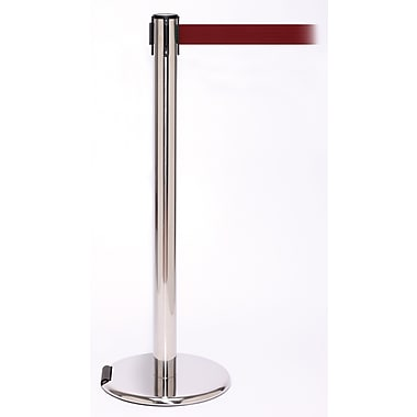 RollerPro 250 Stainless Steel Rolling Stanchion Barrier Post with Retractable 11' Maroon Belt