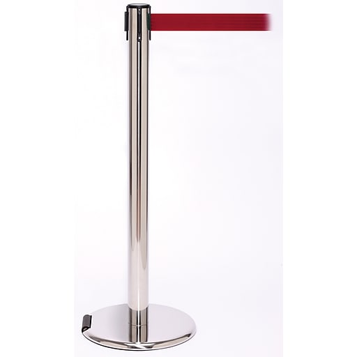 RollerPro 250 Stainless Steel Rolling Stanchion Barrier Post with Retractable 11' Red Belt