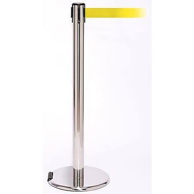 RollerPro 250 Stainless Steel Rolling Stanchion Barrier Post with Retractable 11' Yellow Belt