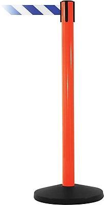 SafetyMaster 450 Orange Stanchion Barrier Post with Retractable 8.5' Blue/White Belt