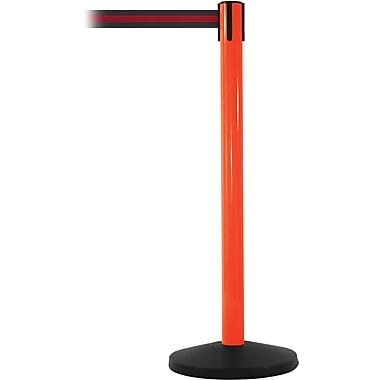 SafetyMaster 450 Orange Stanchion Barrier Post with Retractable 8.5' Black/Red Belt