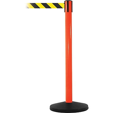 SafetyMaster 450 Orange Stanchion Barrier Post with Retractable 8.5' Black/Yellow Belt