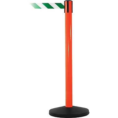 SafetyMaster 450 Orange Stanchion Barrier Post with Retractable 8.5' Green/White Belt