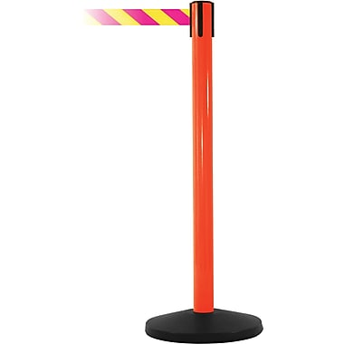 SafetyMaster 450 Orange Stanchion Barrier Post with Retractable 8.5' Yellow/Magenta Belt