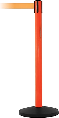 SafetyMaster 450 Orange Stanchion Barrier Post with Retractable 8.5' Orange Belt