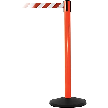 SafetyMaster 450 Orange Stanchion Barrier Post with Retractable 8.5' Red/White Belt