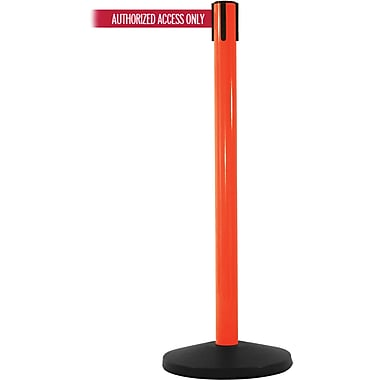 SafetyMaster 450 Orange Stanchion Barrier Post with Retractable 8.5' Red/White AUTHORIZED Belt