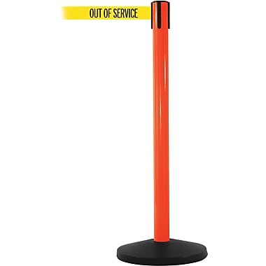 SafetyMaster 450 Orange Retractable Belt Barrier with 8.5' Yellow/Black OUT OF SERV Belt