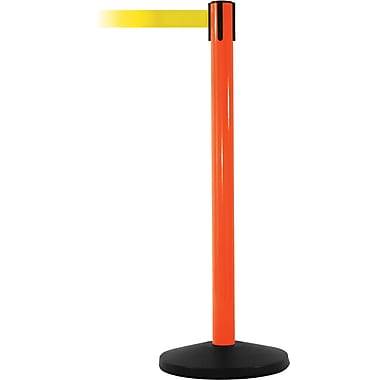 SafetyMaster 450 Orange Stanchion Barrier Post with Retractable 8.5' Yellow Belt