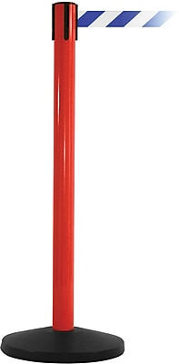 SafetyMaster 450 Red Stanchion Barrier Post with Retractable 8.5' Blue/White Belt