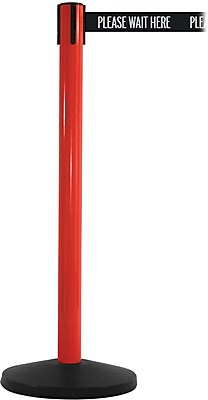 SafetyMaster 450 Red Stanchion Barrier Post with Retractable 8.5' Black/White PL WAIT HERE Belt
