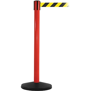 SafetyMaster 450 Red Stanchion Barrier Post with Retractable 8.5' Black/Yellow Belt