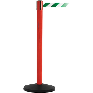 SafetyMaster 450 Red Stanchion Barrier Post with Retractable 8.5' Green/White Belt