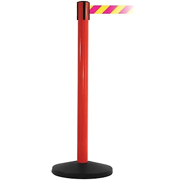 SafetyMaster 450 Red Stanchion Barrier Post with Retractable 8.5' Yellow/Magenta Belt