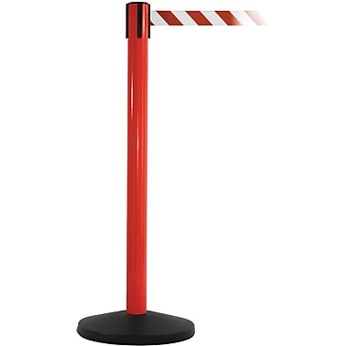 SafetyMaster 450 Red Stanchion Barrier Post with Retractable 8.5' Red/White Belt