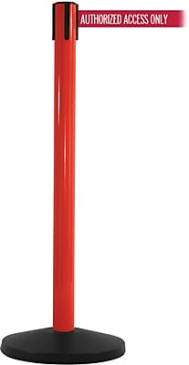 SafetyMaster 450 Red Stanchion Barrier Post with Retractable 8.5' Red/White AUTHORIZED Belt