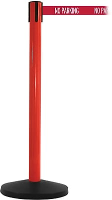 SafetyMaster 450 Red Stanchion Barrier Post with Retractable 8.5' Red/White NO PARKING Belt