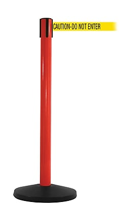 SafetyMaster 450 Red Stanchion Barrier Post with Retractable 8.5' Yellow/Black DO NOT ENTER Belt