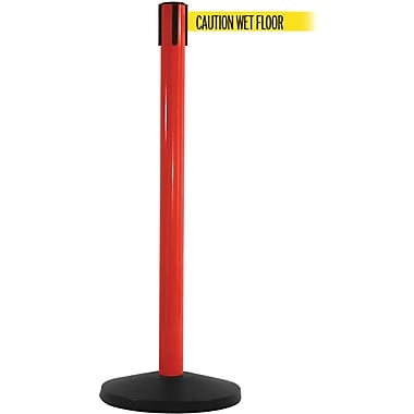 SafetyMaster 450 Red Stanchion Barrier Post with Retractable 8.5' Yellow/Black WET FLOOR Belt
