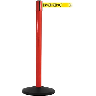 SafetyMaster 450 Red Stanchion Barrier Post with Retractable 8.5' Yellow/Black DANGER Belt