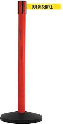 SafetyMaster 450 Red Stanchion Barrier Post with Retractable 8.5' Yellow/Black OUT OF SERV Belt