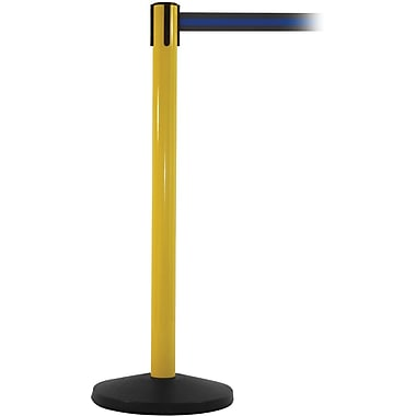 SafetyMaster 450 Yellow Stanchion Barrier Post with Retractable 8.5' Black/Blue Belt