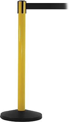 SafetyMaster 450 Yellow Stanchion Barrier Post with Retractable 8.5' Black Belt