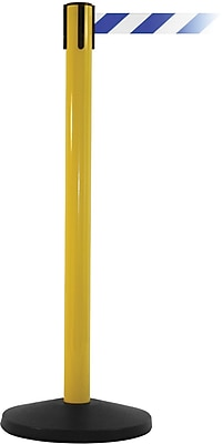 SafetyMaster 450 Yellow Stanchion Barrier Post with Retractable 8.5' Blue/White Belt