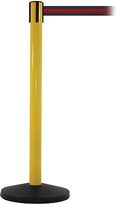 SafetyMaster 450 Yellow Stanchion Barrier Post with Retractable 8.5' Black/Red Belt