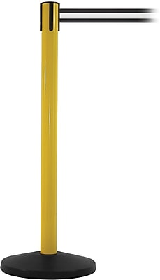 SafetyMaster 450 Yellow Stanchion Barrier Post with Retractable 8.5' Black/White Belt
