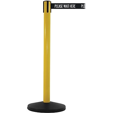 SafetyMaster 450 Yellow Retractable Belt Barrier with 8.5' Black/White PL WAIT HERE Belt