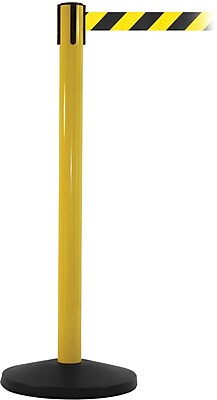 SafetyMaster 450 Yellow Stanchion Barrier Post with Retractable 8.5' Black/Yellow Belt